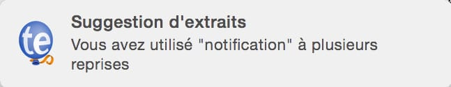 Notification de Suggestion d'extrait