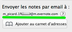 adresse email Evernote