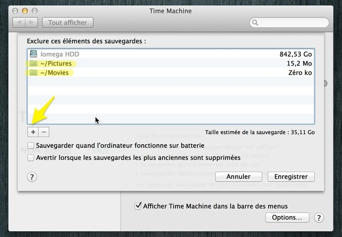 exclusion des dossiers de time machine back up