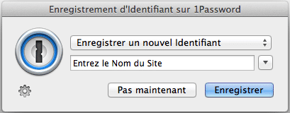 Enregistrer un nouvel identifiant avec 1Password
