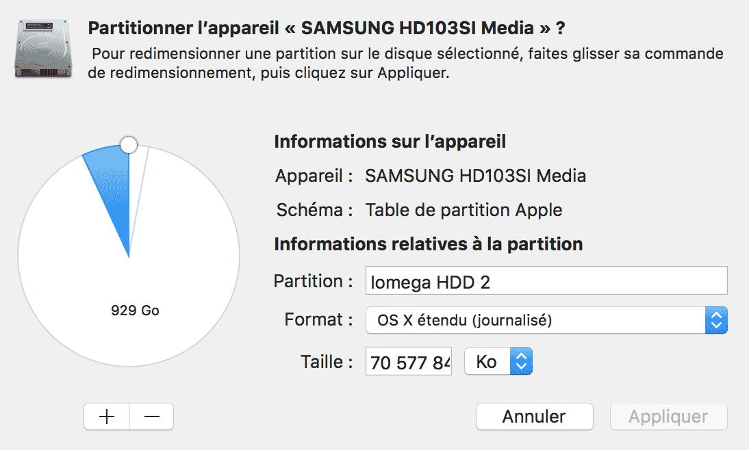 partitionner un disque dur externe sur mac