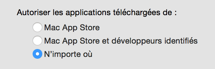 autoriser les applications externes à l'App Store