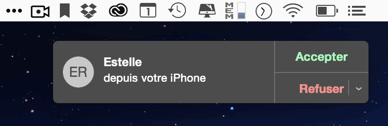 Notification du Mac d'un appel sur l'iPhone