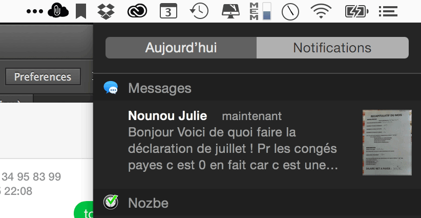 Visualisation d'un SMS de l'iPhone dans la barre de notifications du Mac
