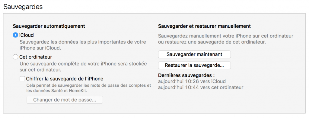 sauvergarder son iphone en local sur son mac avec itunes