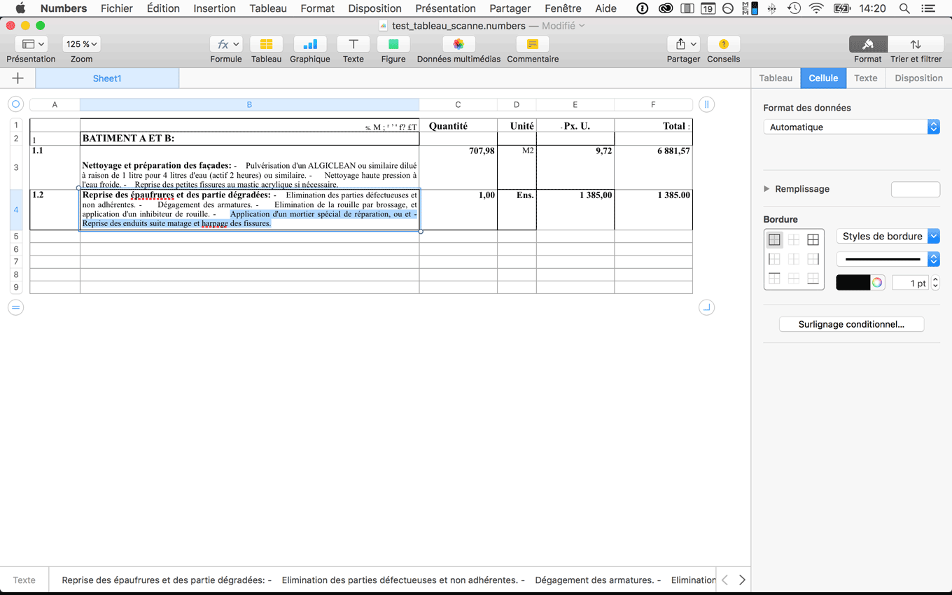modification du tableau scanné dans Excel, Pages ou open office