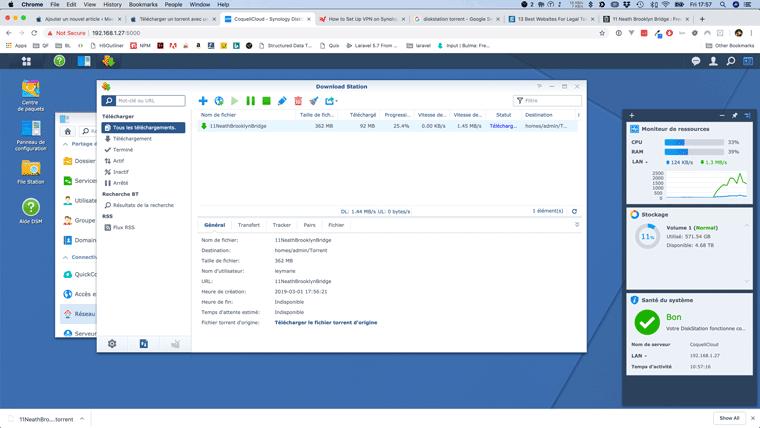 Télécharger un torrent avec un Synology NAS à travers un VPN